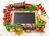 Fresh Vegetables, Spices And Herbs With Blackboard