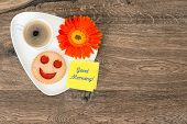image of daisy flower  - coffee with smiling cookie and daisy flower - JPG