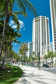 Street Of Honolulu Close To Waikiki Beach On Oahu Island Hawaii