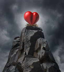 pic of long distance  - Love and relatinship challenge problem concept and romantic life trouble or heartache and loneliness as a red heart sitting high on cliff in a nest as a long distance dating symbol or finding romance - JPG
