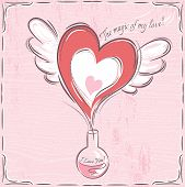 Pink Valentine Card With Heart