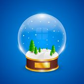 Snow globe with christmas trees on blue background