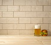 Brick Background, Beer And Burger