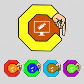 Usb Flash Drive And Monitor Sign Icon. Video Game Symbol. Set Colourful Buttons. Vector