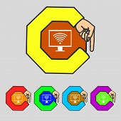picture of fi  - wi fi and monitor sign icon - JPG