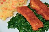 fish, spinach and potatoes