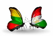 Two Butterflies With Flags On Wings As Symbol Of Relations Lithuania And Tajikistan