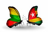 Two Butterflies With Flags On Wings As Symbol Of Relations Lithuania And Togo