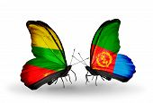 picture of eritrea  - Two butterflies with flags on wings as symbol of relations Lithuania and Eritrea - JPG