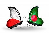 Two Butterflies With Flags On Wings As Symbol Of Relations Poland And Bangladesh