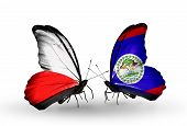 Two Butterflies With Flags On Wings As Symbol Of Relations Poland And Belize