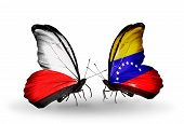 Two Butterflies With Flags On Wings As Symbol Of Relations Poland And Venezuela