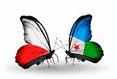 Two Butterflies With Flags On Wings As Symbol Of Relations Poland And Djibouti