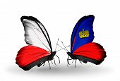 Two Butterflies With Flags On Wings As Symbol Of Relations Poland And Liechtenstein