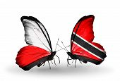 Two Butterflies With Flags On Wings As Symbol Of Relations Poland And Trinidad And Tobago