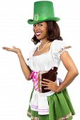 foto of st patty  - african american waitress dressed in st patricks day costume - JPG