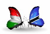 Two Butterflies With Flags On Wings As Symbol Of Relations Hungary And Botswana