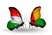 Two Butterflies With Flags On Wings As Symbol Of Relations Hungary And Guinea Bissau