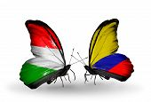 Two Butterflies With Flags On Wings As Symbol Of Relations Hungary And Columbia