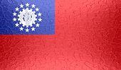 Myanmar (Burma) flag on metallic metal texture