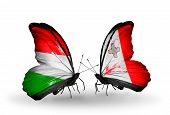 Two Butterflies With Flags On Wings As Symbol Of Relations Hungary And Malta