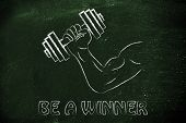 Be A Winner, Man Biceps Lifting Heavy Dumbbell