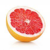 Half Grapefruit Citrus Fruit Isolated On White