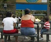 foto of junk food  - overweight family sitting at picnic table eating fast food  - JPG