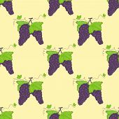 Seamless Pattern Bunches Of Grapes And Green Leaves.