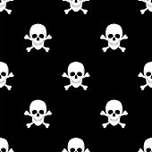 Seamless Pattern With Skulls And Bones.
