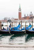 Venetian Gondolas With High Tide.