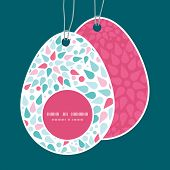 Vector abstract colorful drops Easter egg shaped tags set template