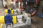 water pump with large electric motors and piping