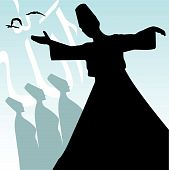 stock photo of rumi  - vector illustration of a dervish  - JPG