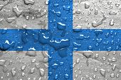 flag of Marseille with rain drops