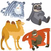 Постер, плакат: Cartoon Asian Animals Set