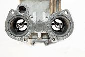 stock photo of carburetor  - the carburetor with its valves of the combustion engine - JPG