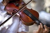 foto of orchestra  - Violinist playing the violin in an orchestra