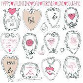 Romantic frame set.Hand drawing Valentine,wedding decor