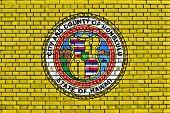 Flag Of Honolulu Painted On Brick Wall