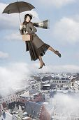 Young woman Flies Over The City