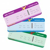 foto of boarding pass  - Three classes of blank flight boarding pass different colors - JPG
