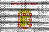 Flag Of Panama City Painted On Brick Wall