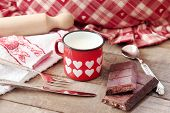 Hearts Decorated Mug With Milk And Modica Chocolate