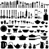 stock photo of black tea  - Set of kitchen utensils and appliances - JPG