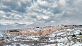 pic of snow-slide  - covered with snow panorama of the city of Avila - JPG