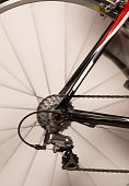 Fahrrad-Hinterrad in Bewegung