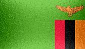 Zambia flag on metallic metal texture