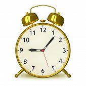 Gold Alarm Clock Isolated