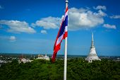 Thailand flag with temple thai background